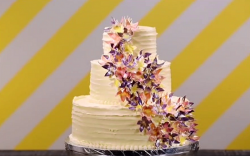 Jane's wining Hawaiian passion fruit wedding cake on Spring Baking Championships