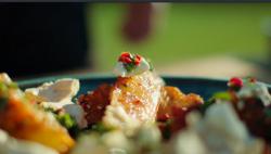 BBQ pineapple with rum, chillie, meringue and herb salsa dessert on Hidden Restaurants with Mich ...