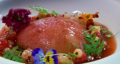 Nigel Haworth and Steve's champagne poached peaches dessert on The Secret Chef