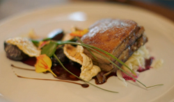 Ian's pork belly with sauerkraut on Hidden Restaurants with Michel Roux Jr