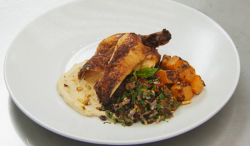 Alison's poussin  with black rice, butternut squash and hummus dish on Masterchef UK
