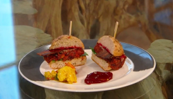 Dan Barber's vegetable pulp cheese burger on Saturday Kitchen