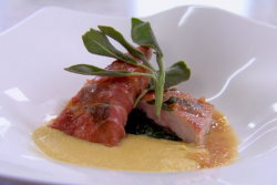 Rosemary Shrager's rabbit saltimbocca with creamy polenta on Chopping Block