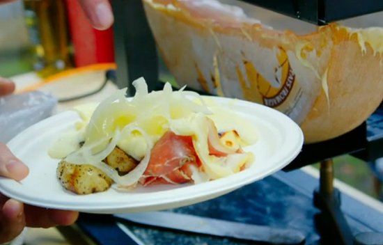 James and Simon's raclette cheese and pickle street food on Hidden Restaurants with Michel ...