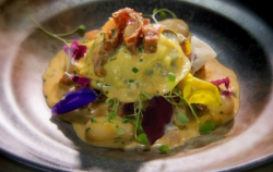 Glynn Purnell goat's cheese & spinach ravioli with chorizo and tomato emulsion starter ...