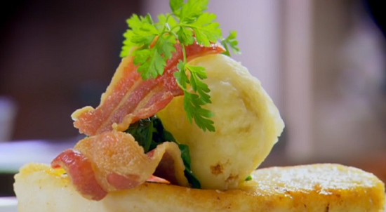 Nigel Haworth and Steve's roasted halibut with tempura cauliflower and cheese fondue on Th ...