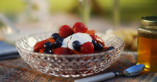 Mary Berry Rosy fruit compote with yoghurt and honey dessert