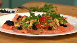Peter Gordon's Salmon Ceviche with Som Tam Salad and Caviar on Sunday Brunch