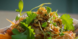 Glynn Purnell scallops with raw veg, almond satay and ponzu dressing  on The Secret Chef