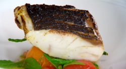 Nigel Haworth and Steve's oven roasted sea bass with tomatoes and samphire starter on The  ...