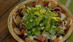 Michel Roux Jr steak with watercress salad and blue cheese dressing starter on Hidden Restaurants