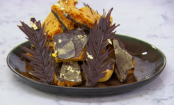 John Whaite tempered chocolate  with honeycomb shards dessert on Chopping Block
