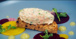 Paul Merrett  and Lucy's smoked trout rillettes starter on The Secret Chef