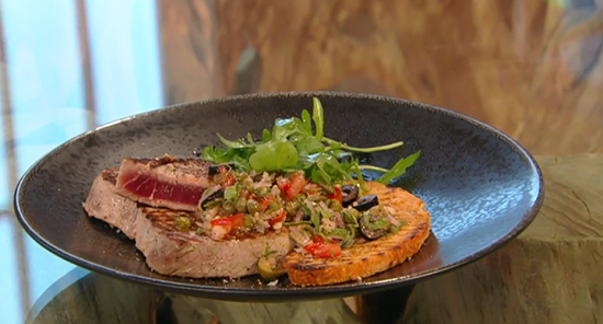 Donal's tuna steak with tomato salsa on Saturday Kitchen