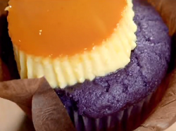 Ginger's ube purple cream caramel cupcakes on Paul Hollywood City Bakes