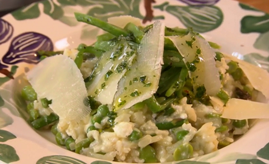 The Hairy Bikers fresh garden vegetable risotto with Parmesan and mint oil on Saturday kitchen