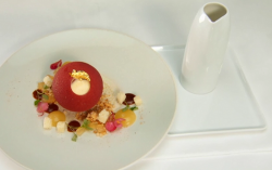 Shaun Rankin apple crumble with white chocolate sphere and a cinnamon and vanilla sauce on Maste ...