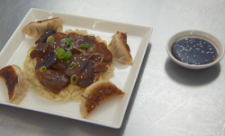 Brodie's Chinese aubergine in spicy sauce with dumplings on Masterchef 2017 UK