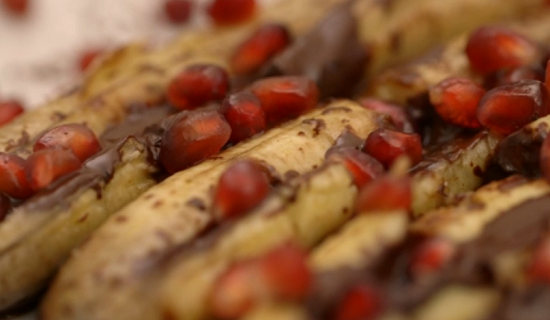 Matt Tebbutt's Indian banana and pomegranate dessert on Save Money: Good Food