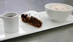 Fumbi's brownie with salted caramel and cream dessert on Masterchef 2017 UK