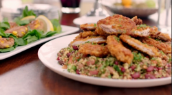 Matt Tebbutt's crispy cajun chicken with couscous and sweet corn fritters on Save Money: G ...