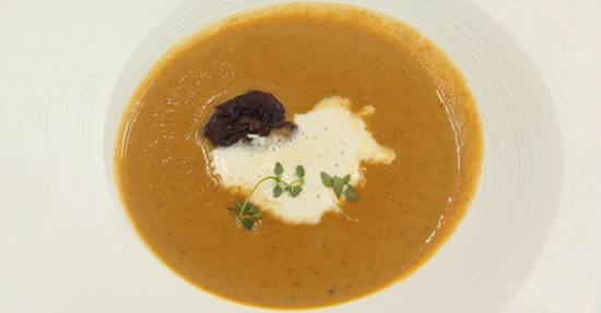 Shauna's chestnut and apple soup with prunes and calvados cream on Masterchef 2017 UK