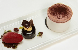 Shaun Rankin black forest gateau, with cherry souffle and cherry sorbet dessert on MasterChef 20 ...