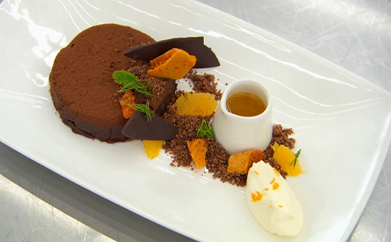 Shauna 's dark chocolate marquise with honeycomb and a orange and rosemary coulis  on Mast ...