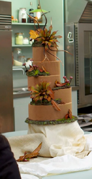 Chris, Bear and Liam's team chocolate wedding cake  on Bake Off Creme de la Creme