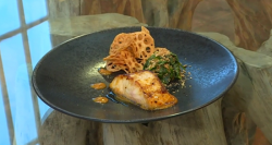 john Torode's black cod with saikyo miso and sesame spinach on Saturday kitchen