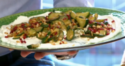Emma Spitzer's vegetarian pan fried courgettes with mango powder on Sunday Brunch