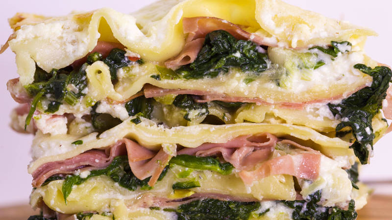 Rachael Ray's Lasagna with Spinach, Spring Onions and Mortadella recipe on the Rachael Ray ...