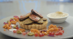 Lorna's orange blossom and pistachio frangipane tart with ice cream on Masterchef 2017 UK