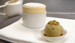 Steve Groves passion fruit souffle with pistachio ice cream and white chocolate  sauce on Master ...