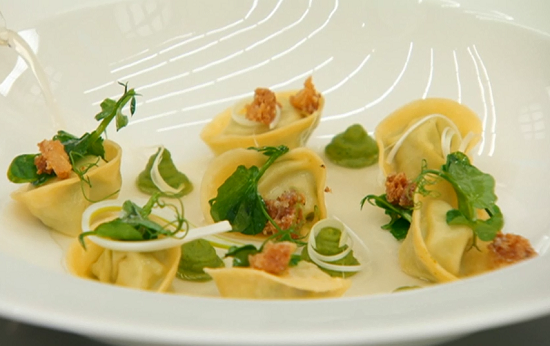 Steve's pea and ricotta tortellini original dish on Masterchef UK 2017