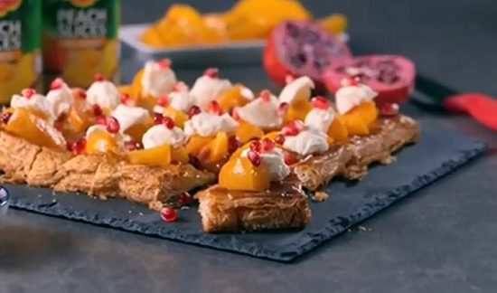 Del Monte peach pie with pomegranate from the advert