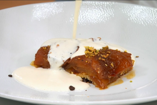 Alex's caramelized pear tart with dark chocolate and custard on Masterchef UK