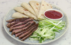 Rosemary Shrager cheat's Pekig duck with pancakes on Chopping Block