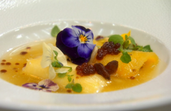 Lyndsay's pineapple cannelloni with a ricotta filling and pineapple soup with edible flowe ...