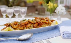 Mary Berry's marinated harissa prawns with spiced rice on Mary Berry Everyday