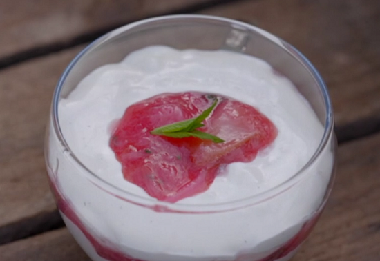 Nadiya Hussain's rhubarb and mint fool dessert on The One Show