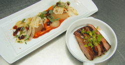 Shaun Rankin iberico pork with calamari and fennel salad on MasterChef 2017 UK