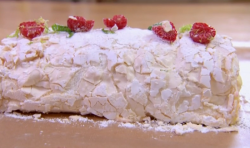 Nosheel and James lime, raspberry and vanilla Meringue roulade dessert on Chopping Block