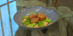 Michel Roux Jr. Scallop risotto with roe butter on Saturday Kitchen