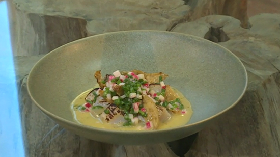 Tommy Banks Scallop and rhubarb  with Jerusalem artichoke on Saturday kitchen