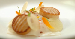 Steve Groves scallops with crab and  Japanese broth  starter on MasterChef 2017 UK