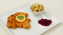 Fumbi Wiener schnitzel and kartoffelsalat  on Masterchef 2017 UK