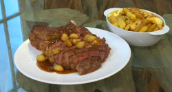 Richard's  fried steak in butter with chips on Saturday kitchen