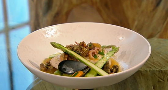 Tom Kitchin's steamed halibut with asparagus and shellfish dish on Saturday Kitchen