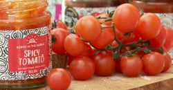 Jennie's spicy tomato chutney made from food waste on Saturday Kitchen